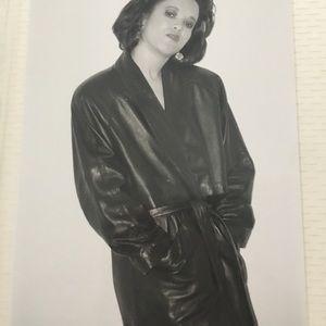 Pelli studio long trench leather coat NWT size M